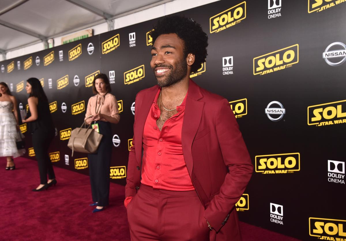 """Actor Donald Glover attends the world premiere of """"Solo: A Star Wars Story"""" in Hollywood on May 10, 2018."""