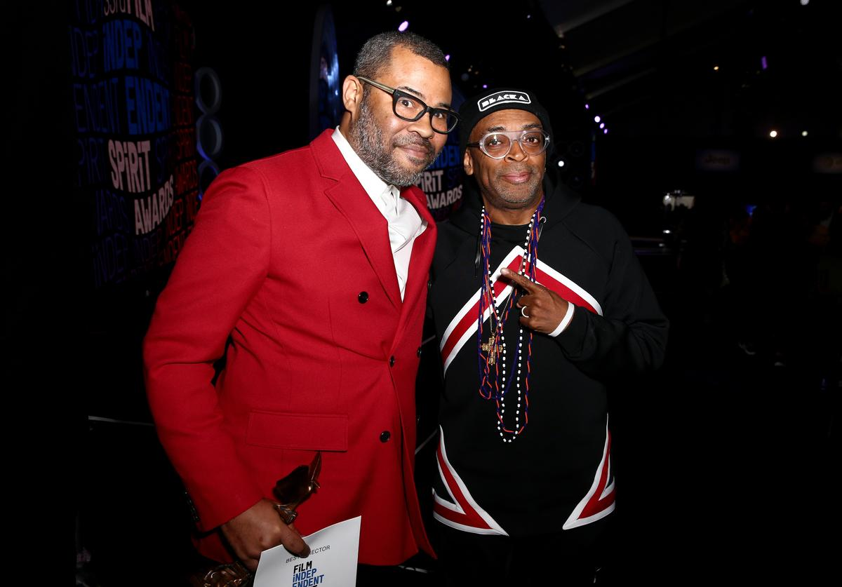Jordan Peele accepts the award for Best Director for 'Get Out' with filmmaker Spike Lee at the 2018 Film Independent Spirit Awards on March 3, 2018 in Santa Monica, California.