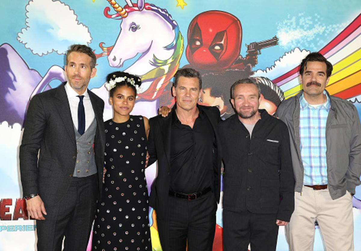 : Ryan Renolds, Zazie Beetz, Josh Brolin, Eddie Marsden and Rob Delaney attend the 'Deadpool 2' photocall at Empire Casino Leicester Square on May 10, 2018 in London, England.