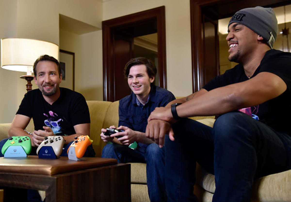 PlayerUnknown's Battlegrounds Creative Director Brendan Greene, actor Chandler Riggs and Xbox Live Sessions host Rukari Austin participate in an Xbox Live Sessions with Chandler Riggs for PUBG on February 22, 2018 in Las Vegas, Nevada.
