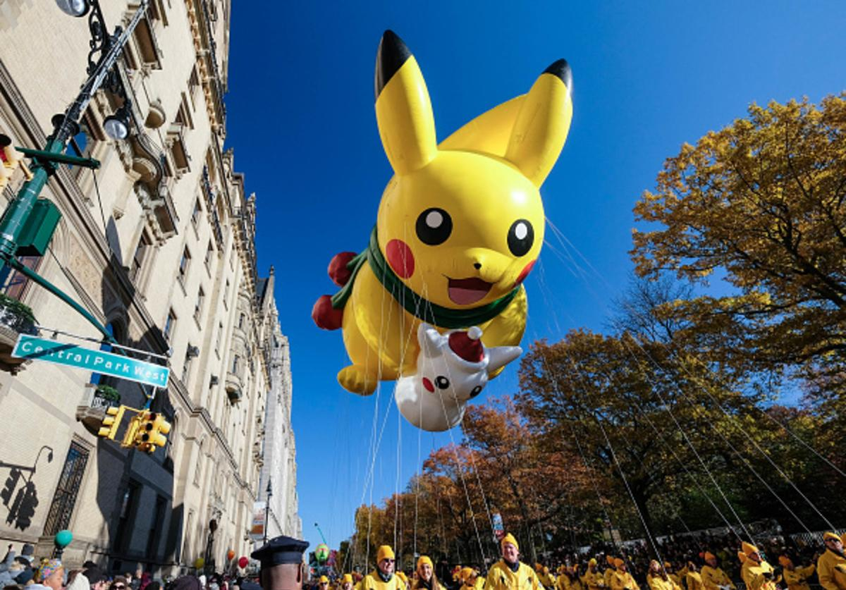 The Pikachu balloon floats down Central Park West during the 91st Annual Macy's Thanksgiving Day Parade on November 23, 2017 in New York City.