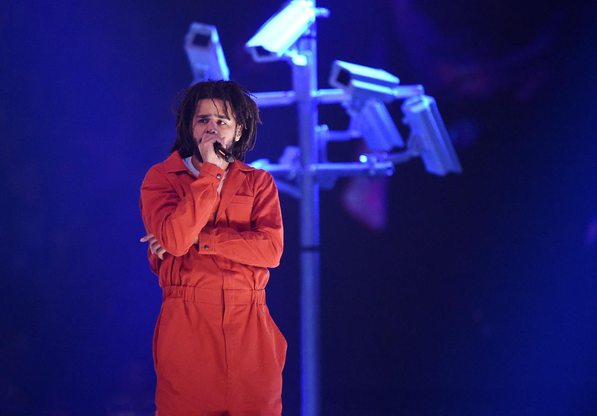 J. Cole performs at Barclays Center of Brooklyn on August 1, 2017 in the Brooklyn borough of New York City
