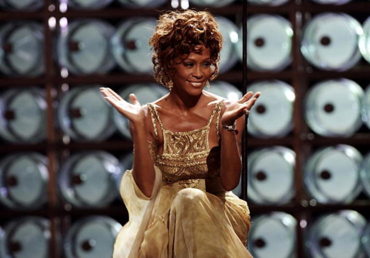 Singer Whitney Houston is seen performing on stage during the 2004 World Music Awards at the Thomas and Mack Center on September 15, 2004 in Las Vegas, Nevada.