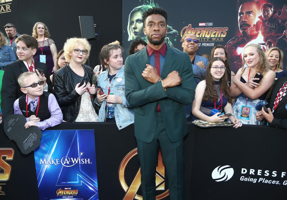 Actor Chadwick Boseman (C) attends the Los Angeles Global Premiere for Marvel Studios' Avengers: Infinity War on April 23, 2018 in Hollywood, California.