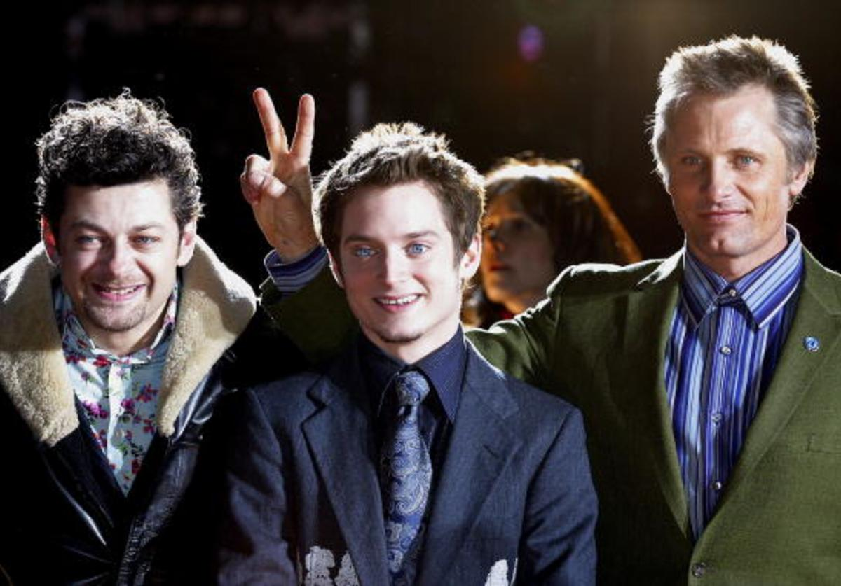 Actors Andy Serkis, Elijah Wood, and Viggo Mortensen attend the Japan Premiere of the film Lord of the Rings January 22, 2004 in Tokyo, Japan.