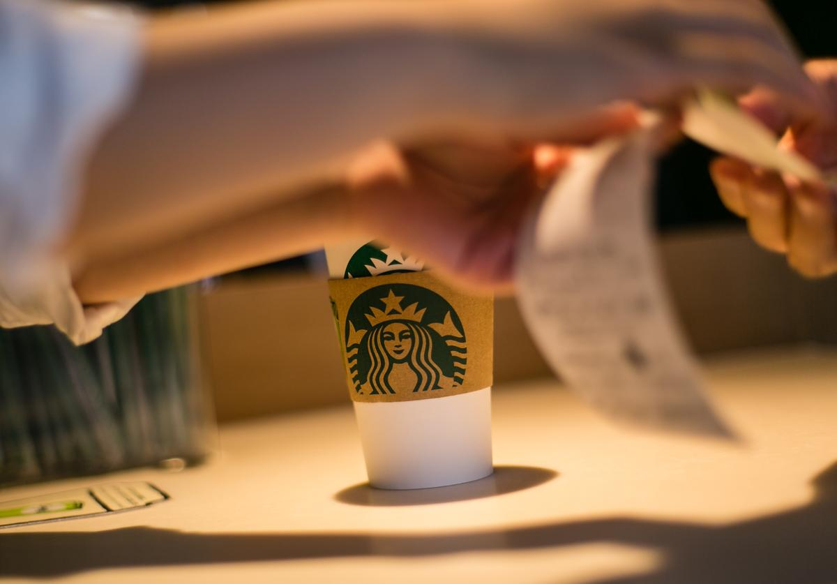 A drink is seen on a table for a customer inside Kyoto's new Starbucks branch with a traditional Japanese space on June 30, 2017 in Kyoto, Japan