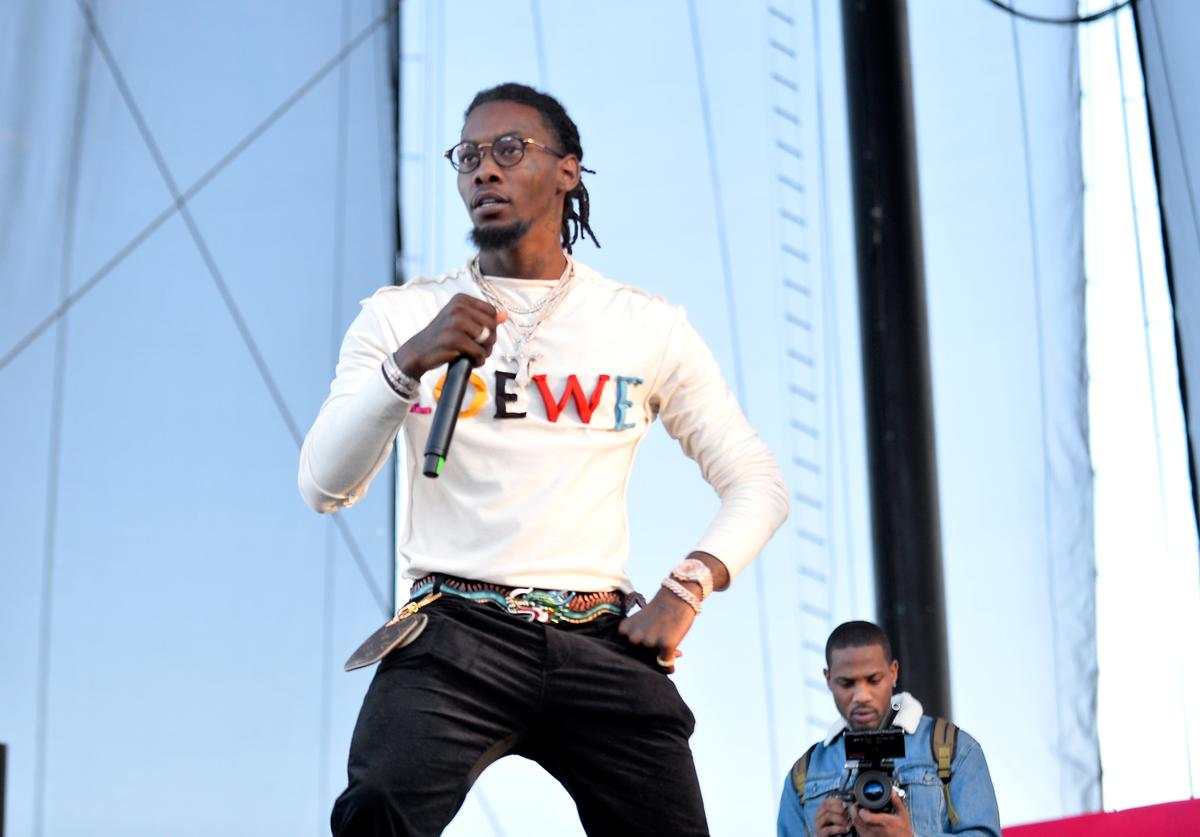Offset of Migos performs onstage during the Daytime Village Presented by Capital One at the 2017 HeartRadio Music Festival at the Las Vegas Village on September 23, 2017 in Las Vegas, Nevada.
