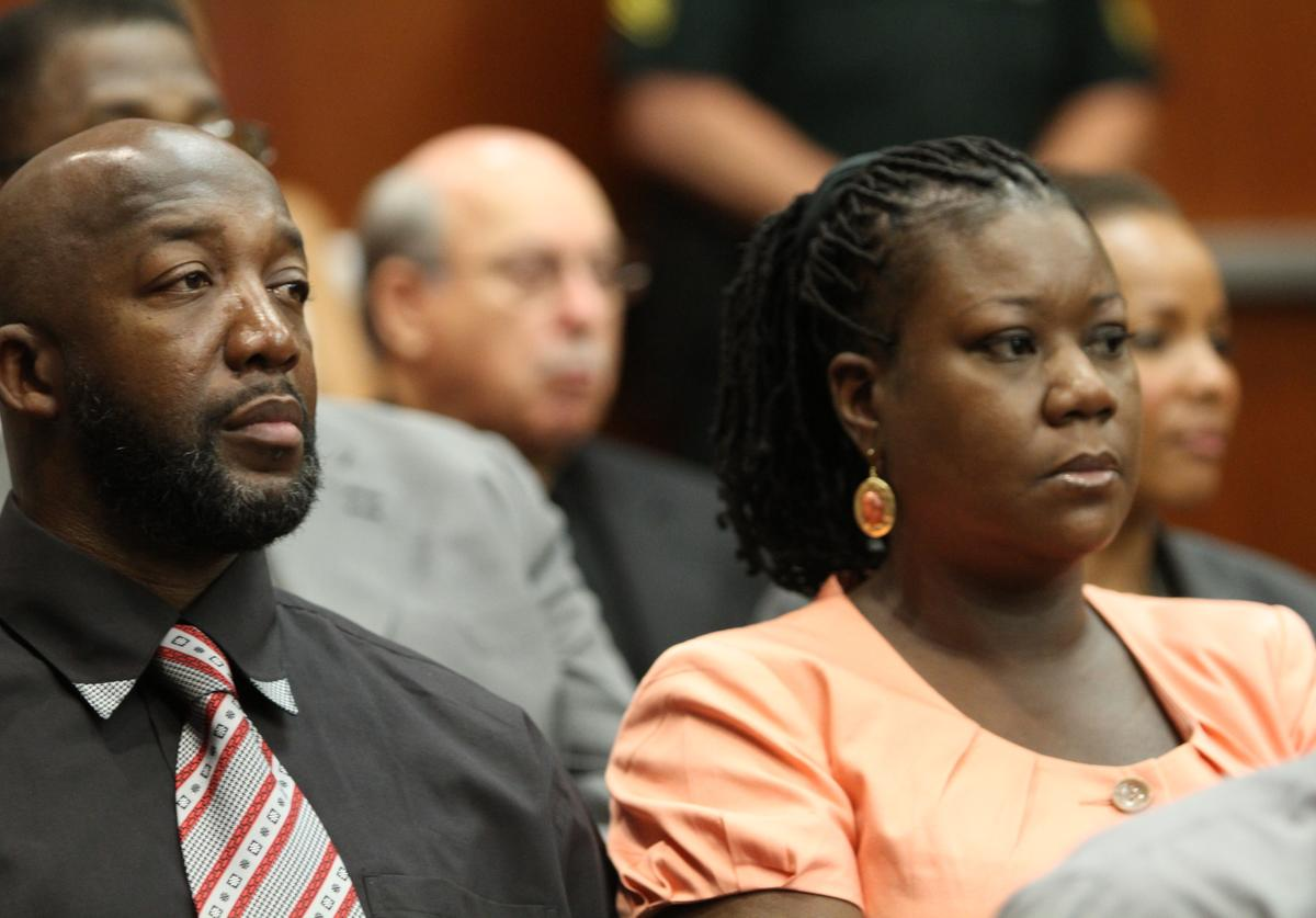 Tracy Martin and Sybrina Fulton, parents to Trayvon Martin, sit in a Seminole County courtroom during the bond hearing for George Zimmerman on June 29, 2012 in Sanford, Florida. Zimmerman is charged with second degree murder in the shooting death of Trayvon Martin.