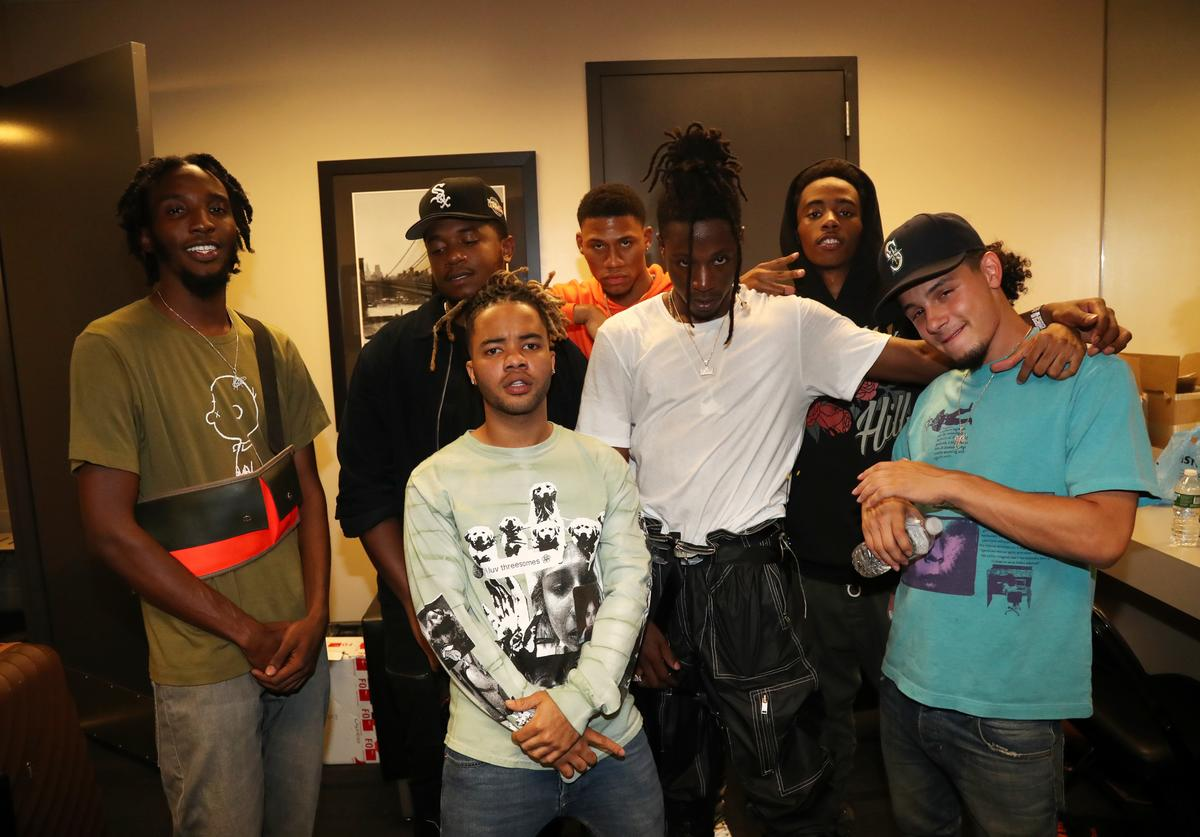 Pro Era's CJ Fly, Dee Knows, Powers Pleasant, Joey Bada$$, and Nyck Caution backstage at Barclays Center on August 8, 2017 in New York City