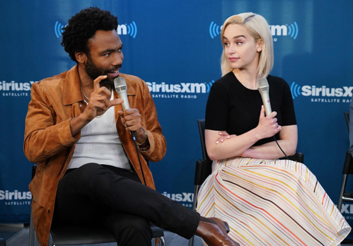 Donald Glover and Emilia Clarke take part in SiriusXM's Town Hall with the cast ofÊSolo: A Star Wars Story hosted by SiriusXM's Dalton Ross at SiriusXM Studios on May 21, 2018 in New York City.