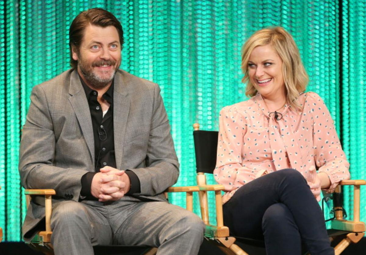Actor Nick Offerman (L) and actress Amy Poehler speak during The Paley Center for Media's PaleyFest 2014 Honoring 'Parks and Recreation' at the Dolby Theatre on March 18, 2014 in Hollywood, California