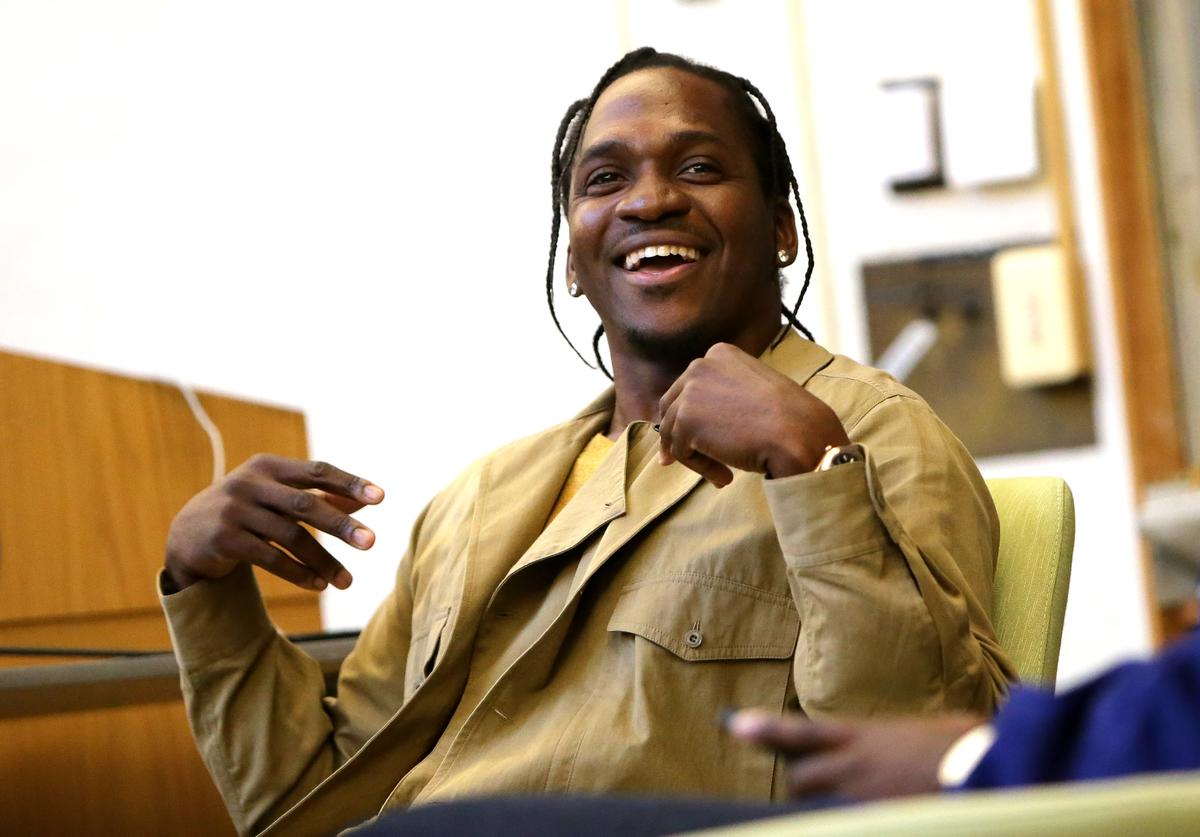 Rapper Pusha T speaks at Harvard University on March 31, 2016 at the Harvard-Yenching Library in Cambridge, Massachusetts.