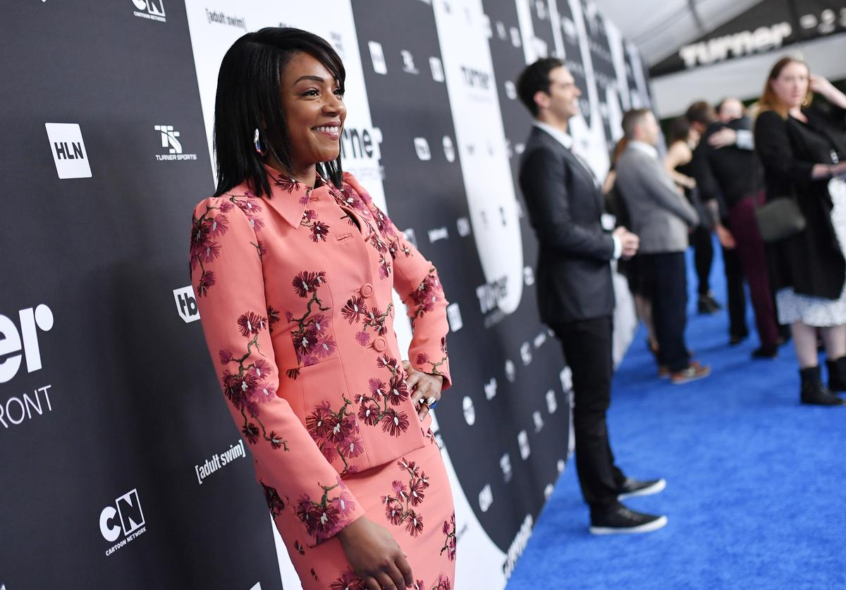 Tiffany Haddish attends the Turner Upfront 2018 arrivals on the red carpet at The Theater at Madison Square Garden on May 16, 2018 in New York City.