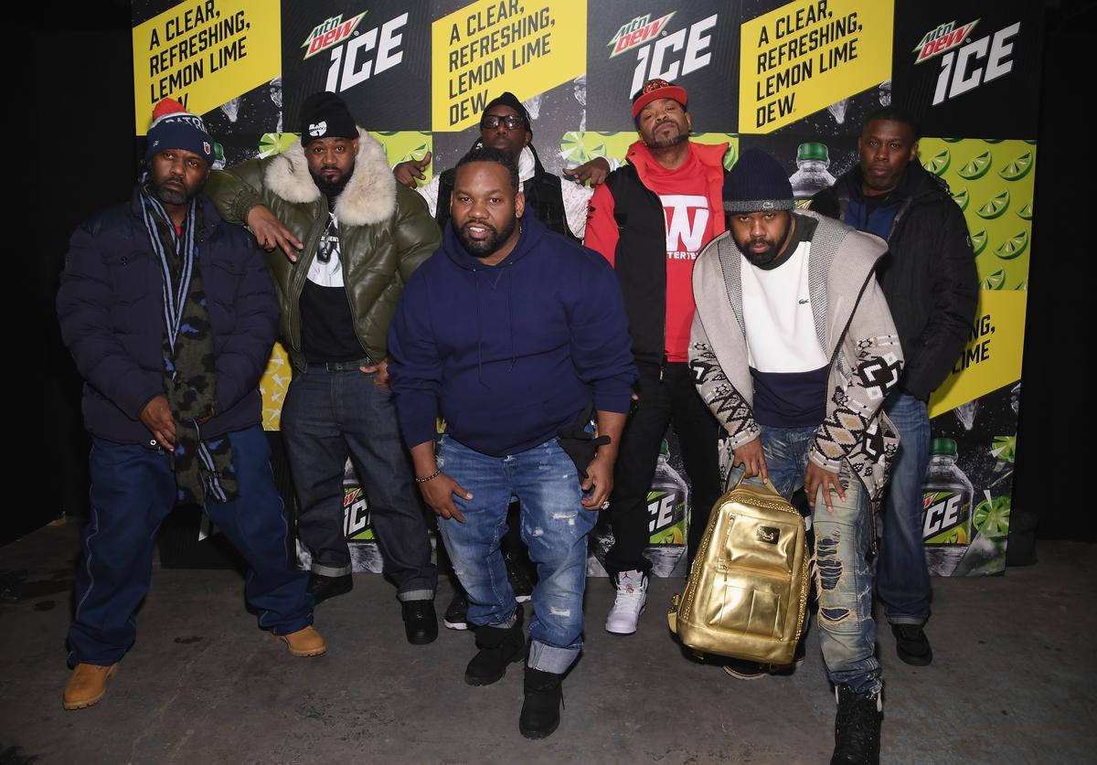 Masta Killa, Ghostface Killah, RZA, Method Man, GZA, (front) Raekwon and Cappadonna of Wu Tang Clan attends the Mtn Dew ICE launch event on January 18, 2018 in Brooklyn, New York.