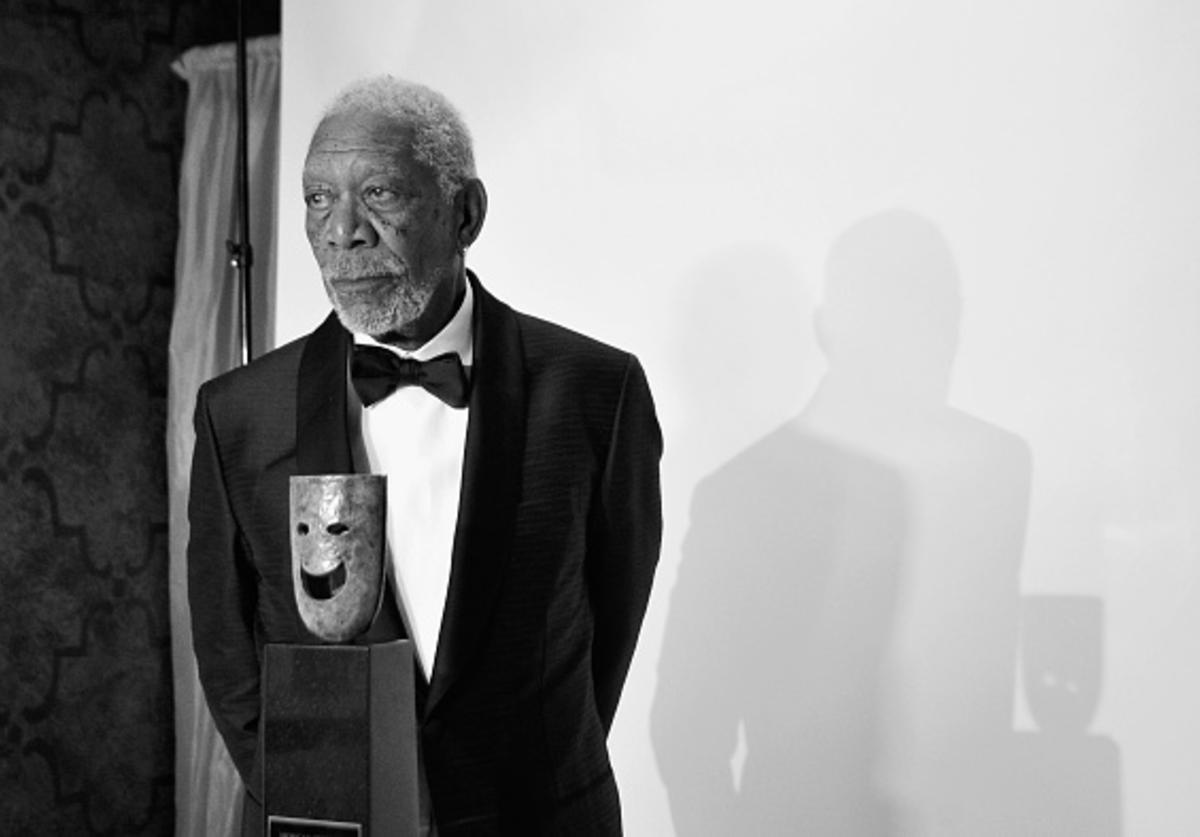 Actor Morgan Freeman poses in the trophy room at the 24th Annual Screen Actors Guild Awards at The Shrine Auditorium on January 21, 2018 in Los Angeles, California.