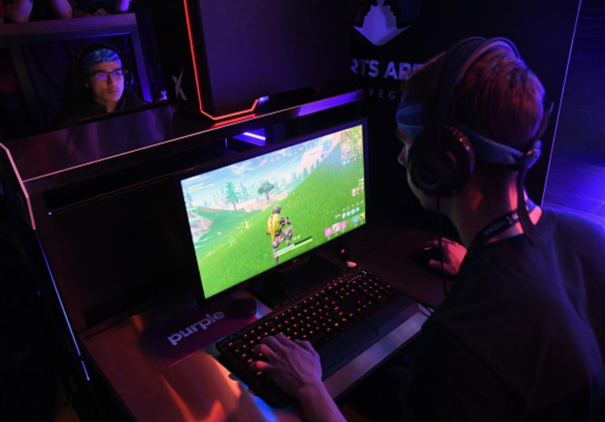 Gamers play 'Fortnite' against Twitch streamer and professional gamer Tyler 'Ninja' Blevins during Ninja Vegas '18 at Esports Arena Las Vegas at Luxor Hotel and Casino on April 21, 2018 in Las Vegas, Nevada.