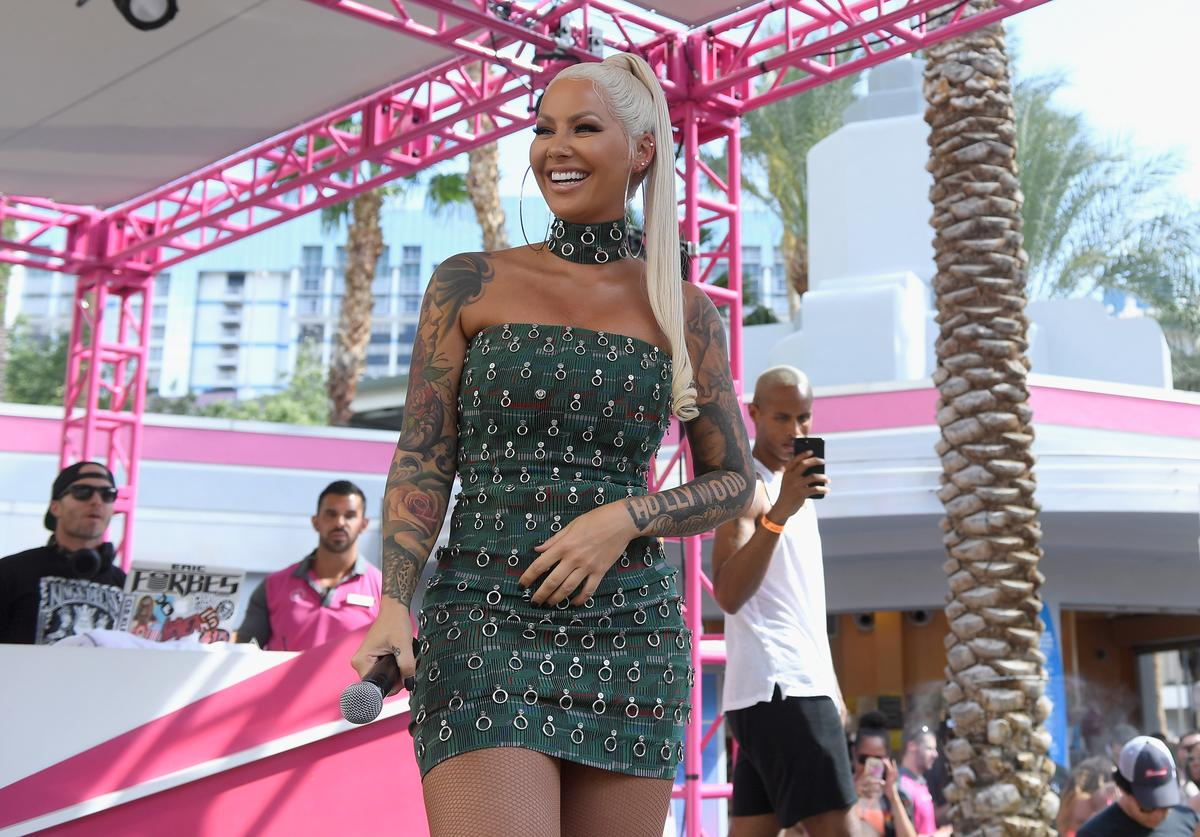 Actress/model Amber Rose hosts the Go Pool Dayclub at Flamingo Las Vegas on May 26, 2018 in Las Vegas, Nevada.