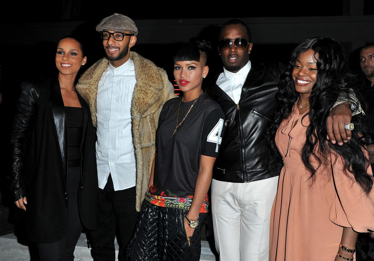 Alicia Keys, Swizz Beatz, Cassie Ventura, Sean Combs and Azealia Banks attend the Kanye West Ready-To-Wear Fall/Winter 2012 show as part of Paris Fashion Week at Halle Freyssinet on March 6, 2012 in Paris, France