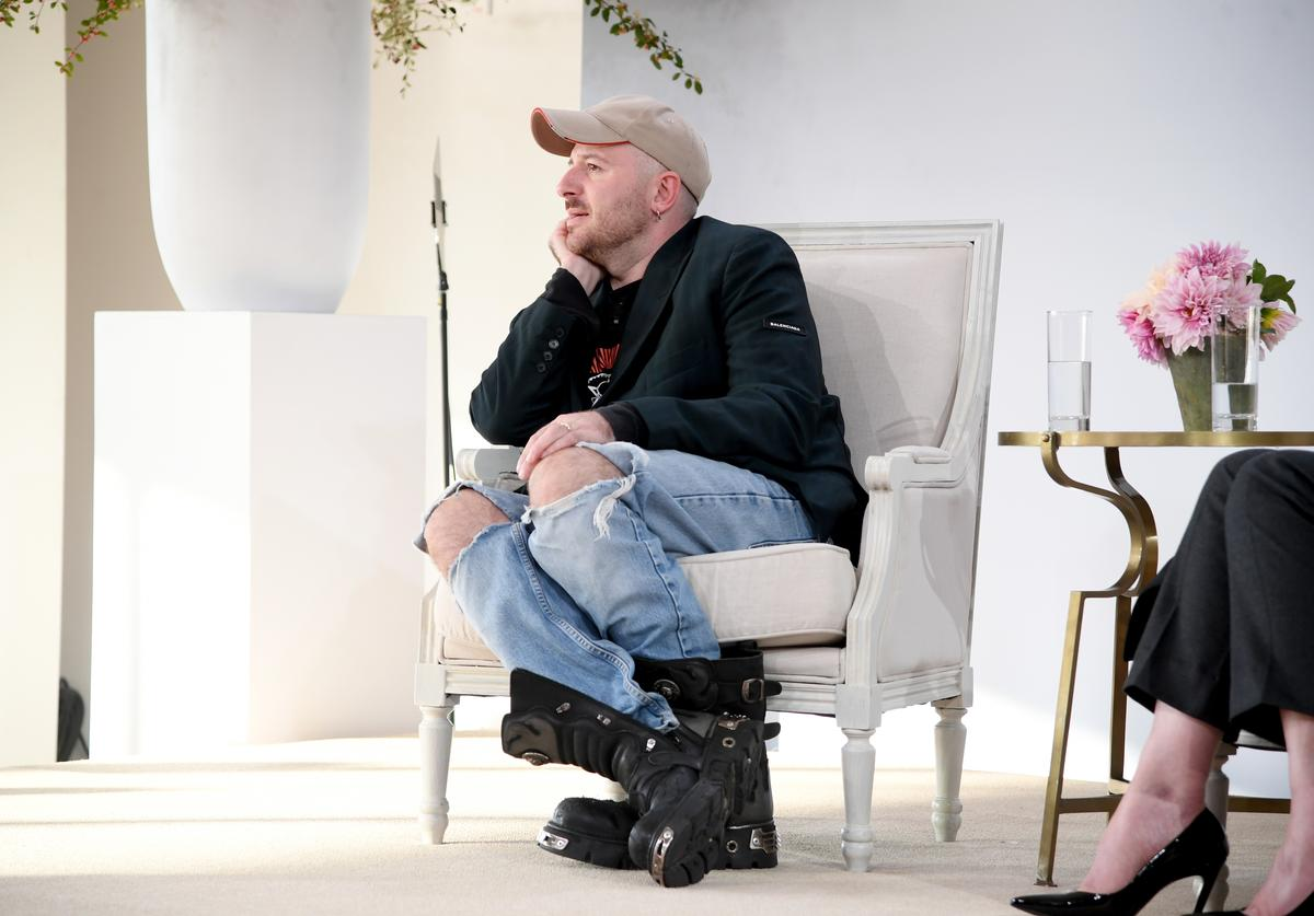 Balenciaga Creative Director Demna Gvasalia speaks onstage during Vogue's Forces of Fashion Conference at Milk Studios on October 12, 2017 in New York City