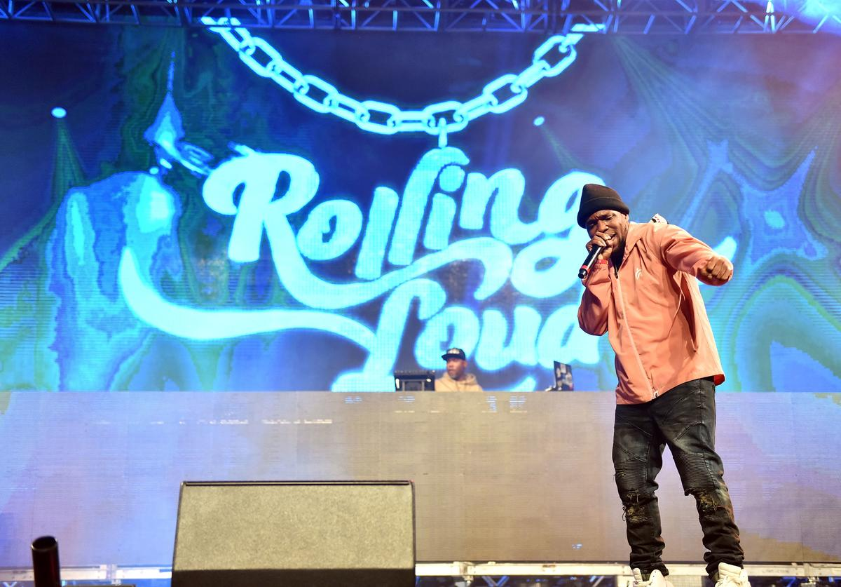 Curren$y performs onstage at the Rolling Loud Festival at NOS Events Center on December 16, 2017 in San Bernardino, California