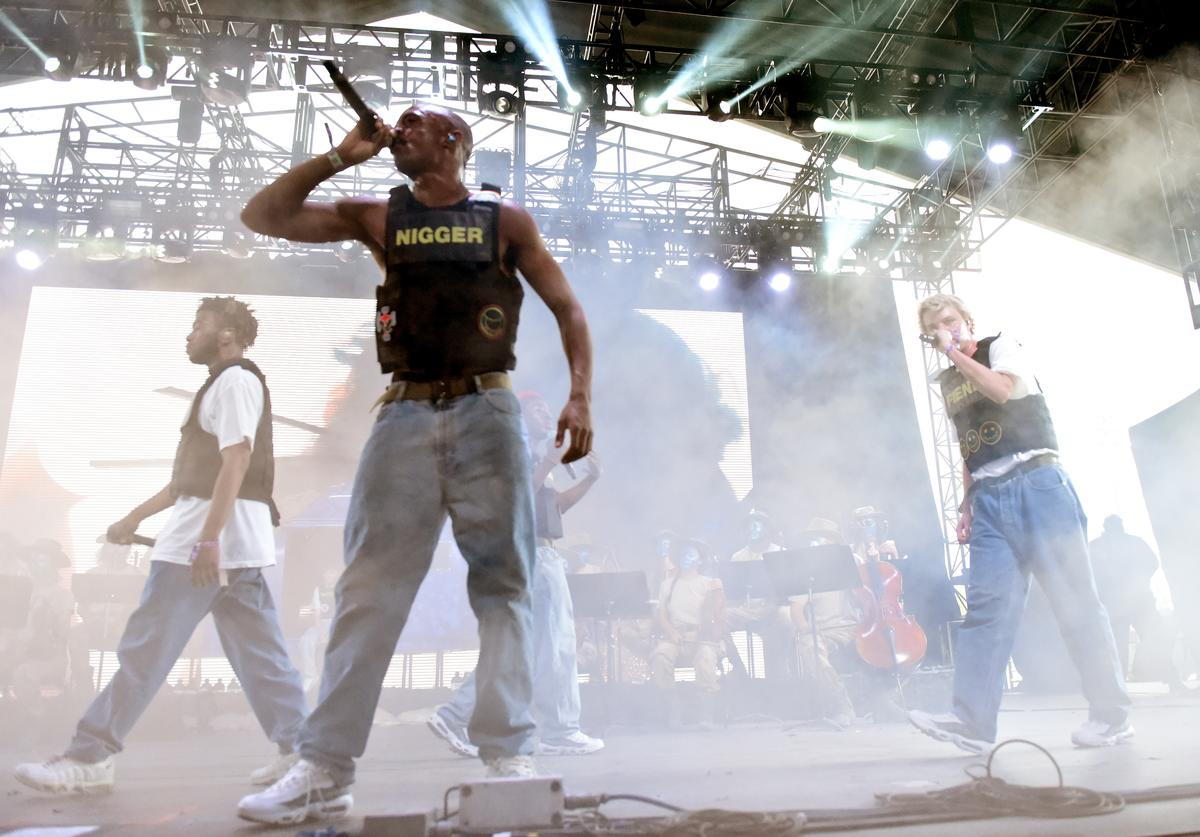 Kevin Abstract, Ameer Vann and Russell Boring aka JOBA of Brockhampton performs onstage during the 2018 Coachella Valley Music And Arts Festival at the Empire Polo Field on April 21, 2018 in Indio, California.