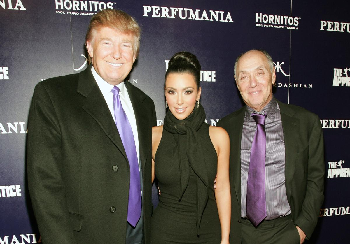 Donald Trump, Kim Kardashian, and Perfumania's Steven Nussdorf celebrates Kim Kardashian's appearance on 'The Apprentice' at Provacateur on November 10, 2010 in New York, New York