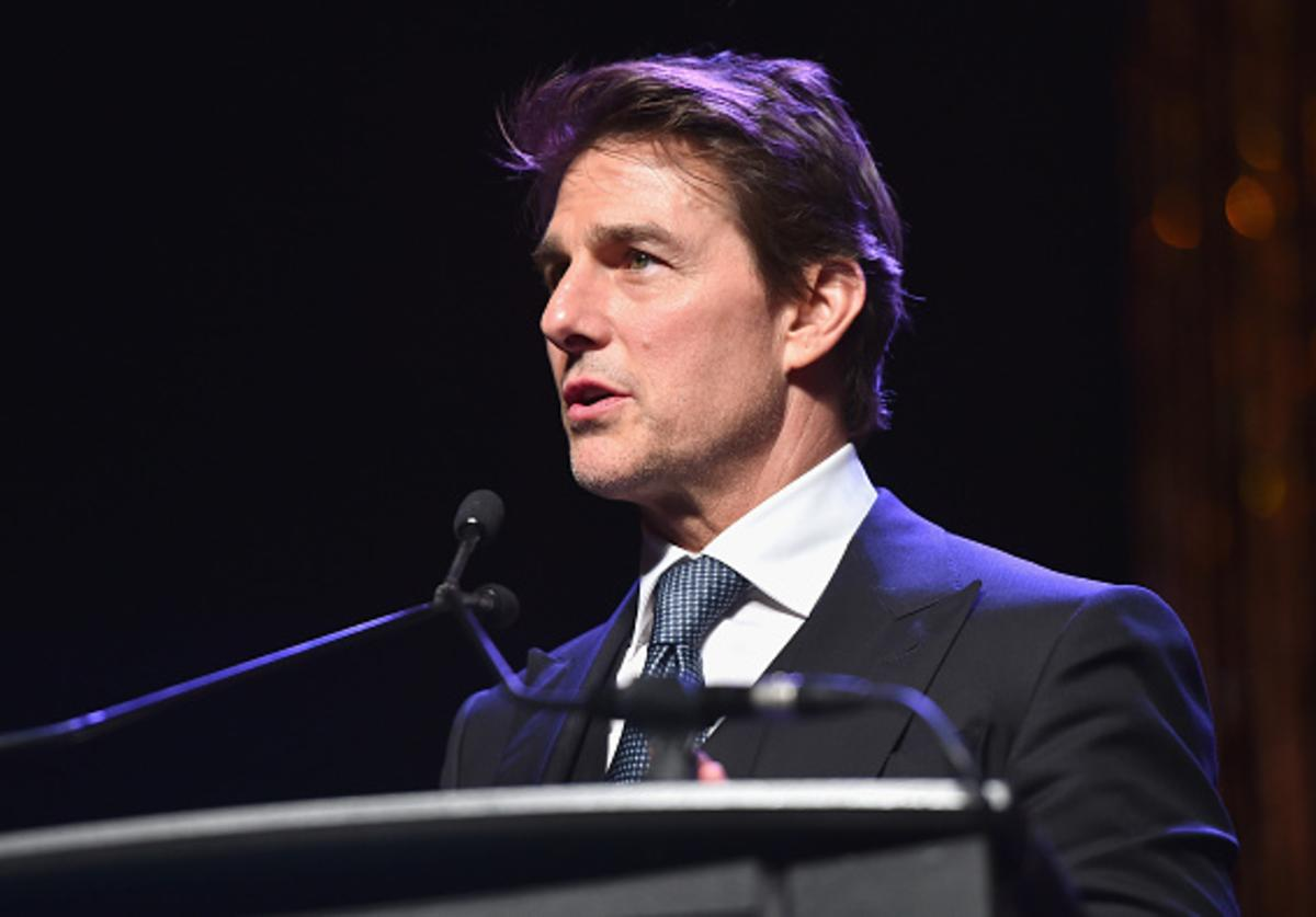 """Pioneer of the Year award recipient Tom Cruise speaks onstage during the 2018 Will Rogers """"Pioneer of the Year"""" Dinner Honoring Tom Cruise at Caesars Palace during CinemaCon, the official convention of the National Association of Theatre Owners, on April 25, 2018 in Las Vegas, Nevada."""