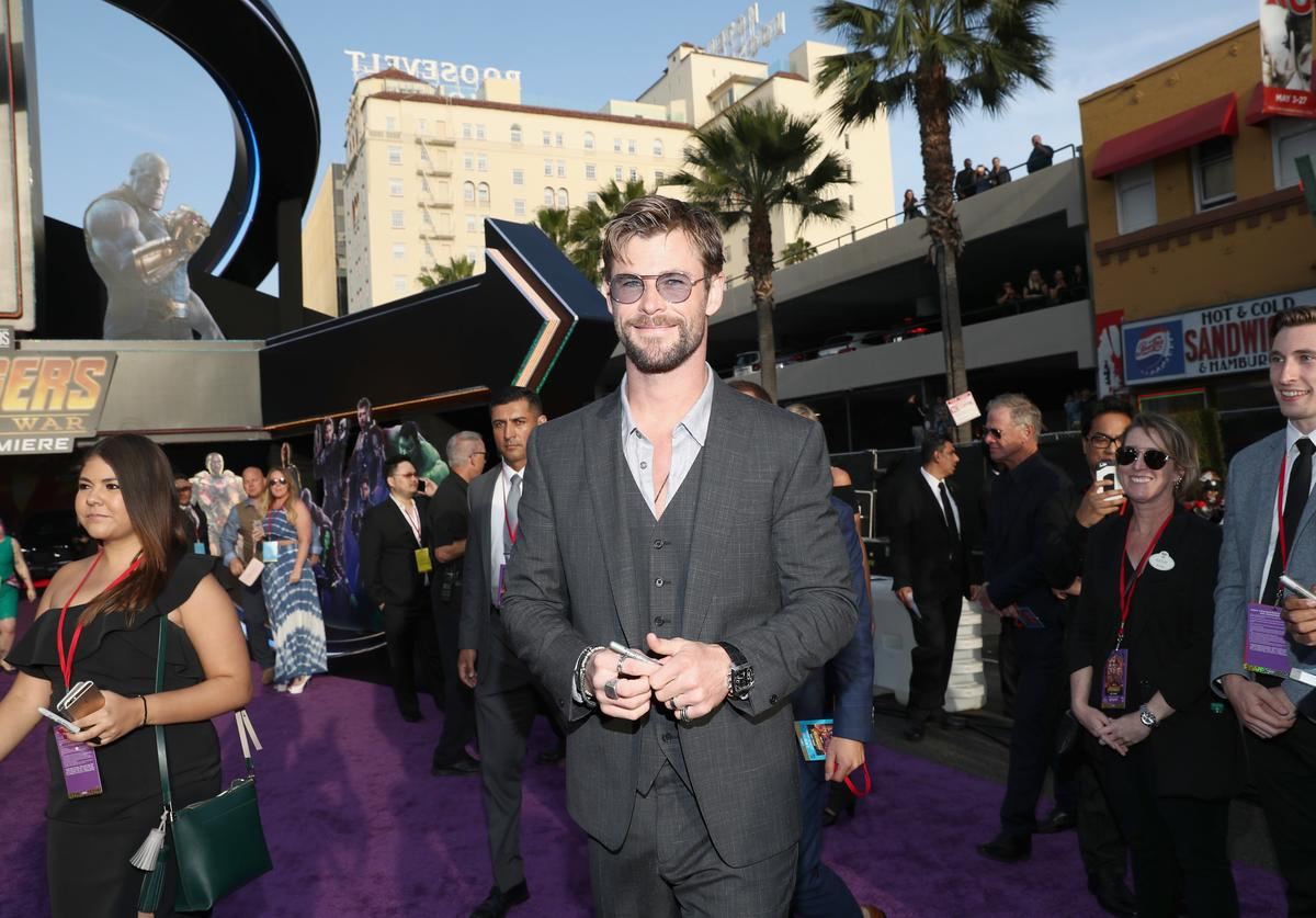 Actor Chris Hemsworth attends the Los Angeles Global Premiere for Marvel Studios' Avengers: Infinity War on April 23, 2018 in Hollywood, California.