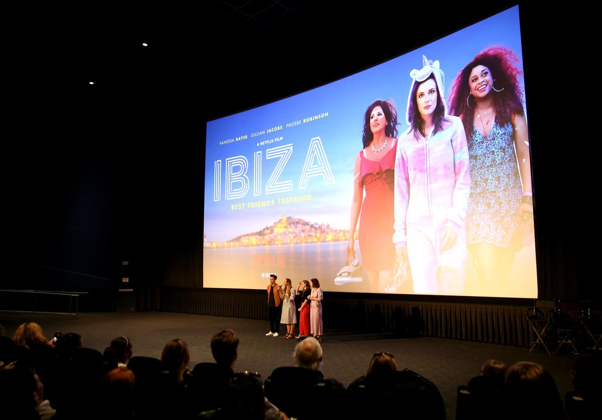 Director Alex Richanbach, Writer Lauryn Kahn, Gillian Jacobs and Vanessa Bayer attend the Los Angeles preview screening of Netflix's film 'IBIZA' at the Arclight Hollywood on May 8, 2018 in Los Angeles, California.