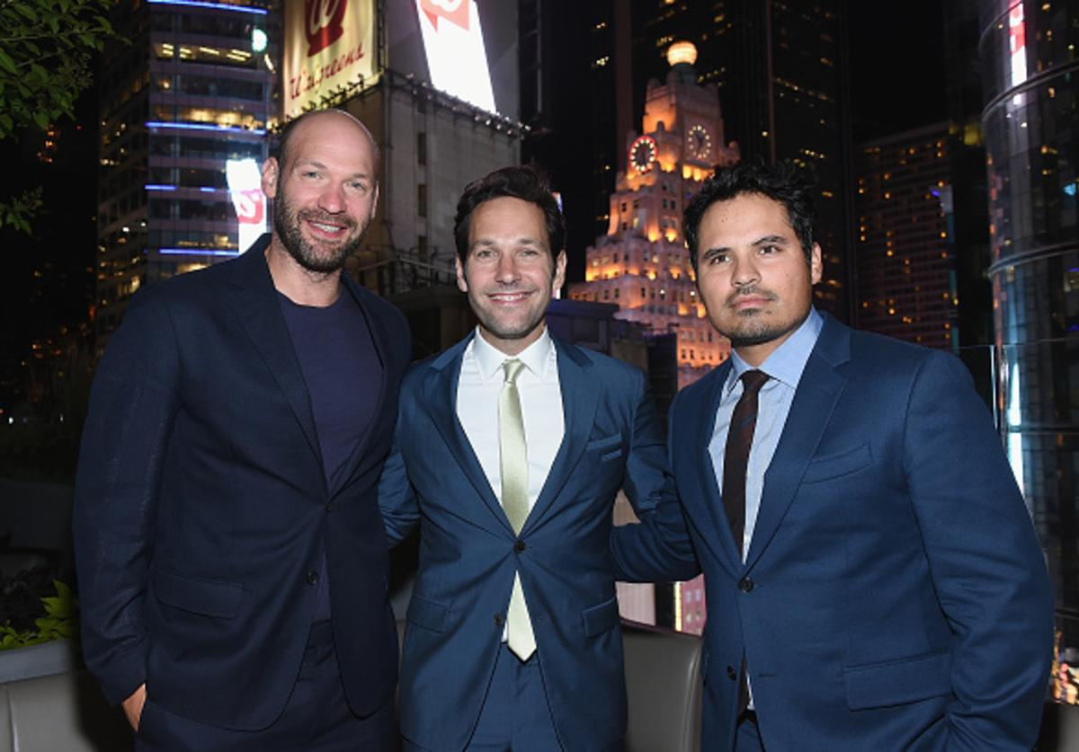 Corey Stoll, Paul Rudd and Michael Pena attend the after party for Marvel's screening of 'Ant-Man' hosted by The Cinema Society and Audi at St. Cloud at the Knickerbocker Hotel on July 13, 2015 in New York City.
