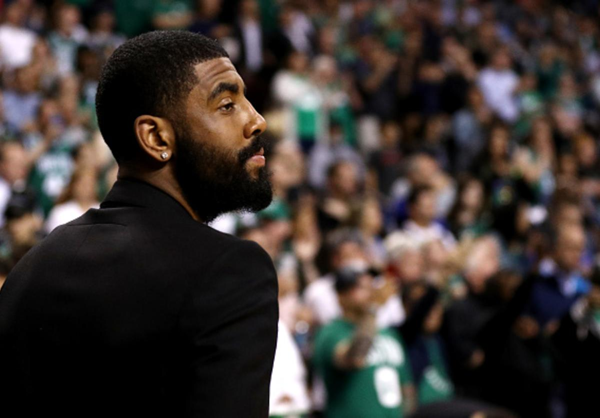 Kyrie Irving #11 of the Boston Celtics looks on before Game Five against the Philadelphia 76ers in the Eastern Conference Second Round of the 2018 NBA Playoffs at TD Garden on May 9, 2018 in Boston, Massachusetts.