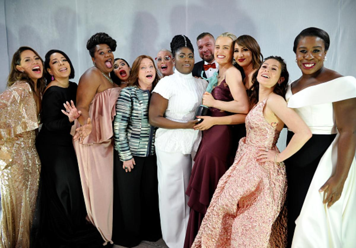The cast of Orange is the New Black celebrates backstage at The 23rd Annual Screen Actors Guild Awards at The Shrine Auditorium on January 29, 2017 in Los Angeles, California.