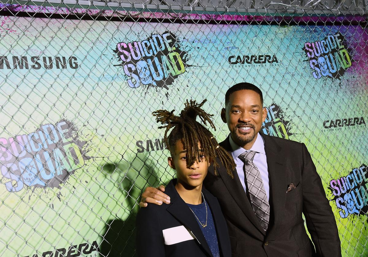 Actors Jaden Smith (L) and Will Smith celebrate the Premiere of 'Suicide Squad' with Samsung at Beacon Theatre on August 1, 2016 in New York, New York.