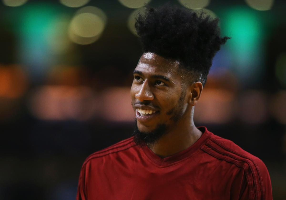 Iman Shumpert #4 of the Cleveland Cavaliers looks on during warmups before the game against the Boston Celtics at TD Garden on December 15, 2015 in Boston, Massachusetts