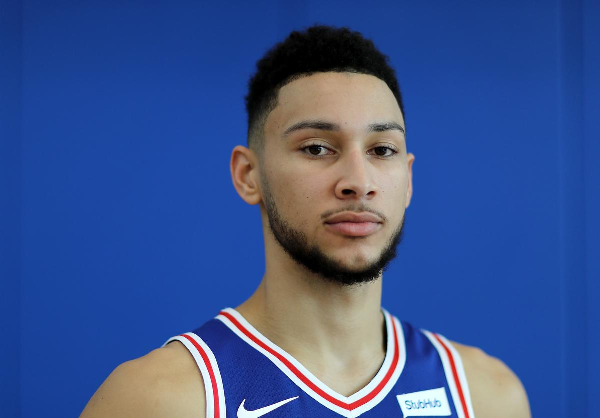 Ben Simmons #25 of the Philadelphia 76ers poses for a portrait during the Philadelphia 76ers Media Day on September 25, 2017 at the Philadelphia 76ers Training Complex in Camden, New Jersey