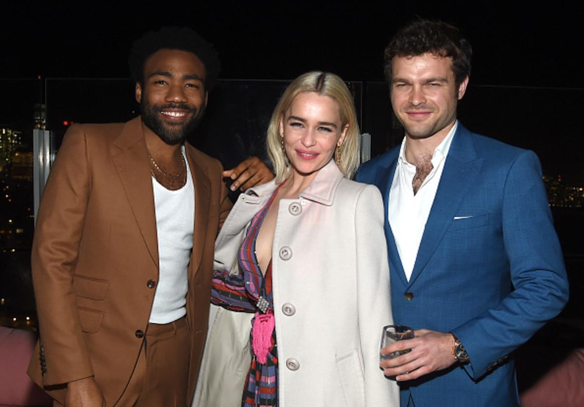 Donald Glover, Emilia Clarke and Alden Ehrenreich attend the 'Solo: A Star Wars Story' New York Premiere - After Party on May 21, 2018 in New York City.