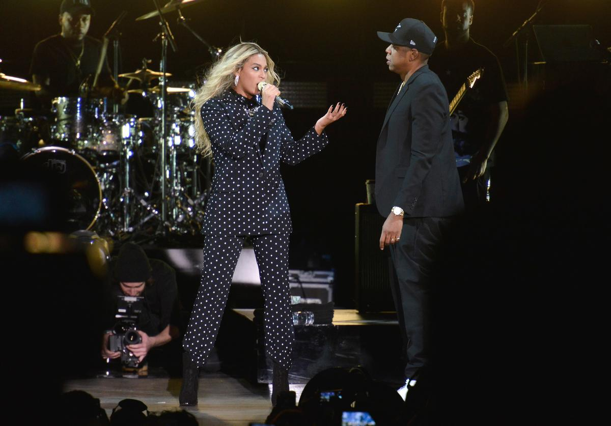 Beyonce and and Jay Z perform on stage during a Get Out The Vote concert in support of Hillary Clinton at Wolstein Center on November 4, 2016 in Cleveland, Ohio. With less than a week to go until election day, Hillary Clinton is campaigning in Pennsylvania, Ohio and Michigan.