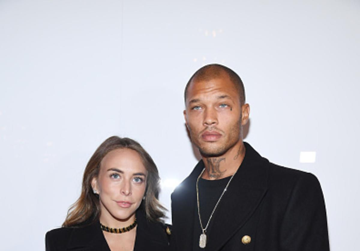 Chloe Green (L) and Jeremy Meeks attend the Balmain Homme Menswear Fall/Winter 2018-2019 show as part of Paris Fashion Week on January 20, 2018 in Paris, France