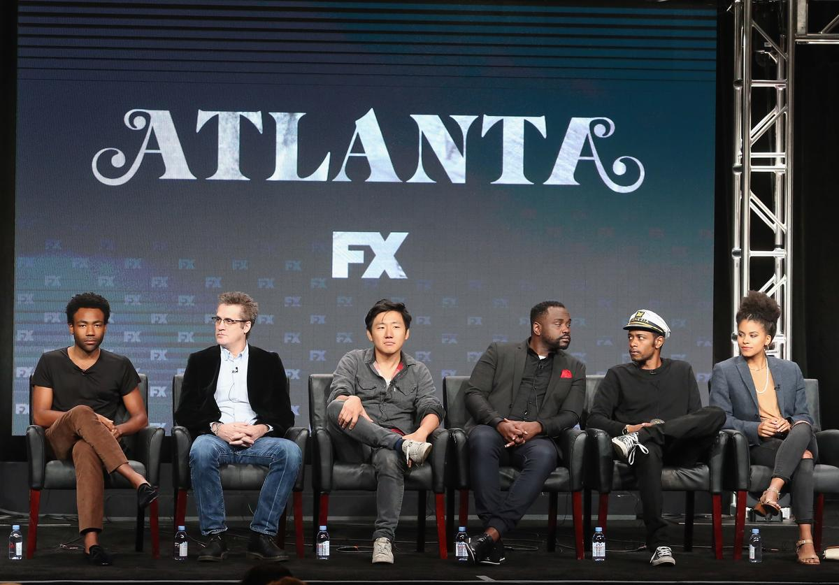 Creator/executive producer/writer/actor Donald Glover, writer/executive producer Paul Simms, producer/director Hiro Murai, actors Brian Tyree Henry, Lakeith Stanfield and Zazie Beetz speak onstage at 'Atlanta' panel discussion during the FX portion of the 2016 Television Critics Association Summer Tour at The Beverly Hilton Hotel on August 9, 2016 in Beverly Hills, California.