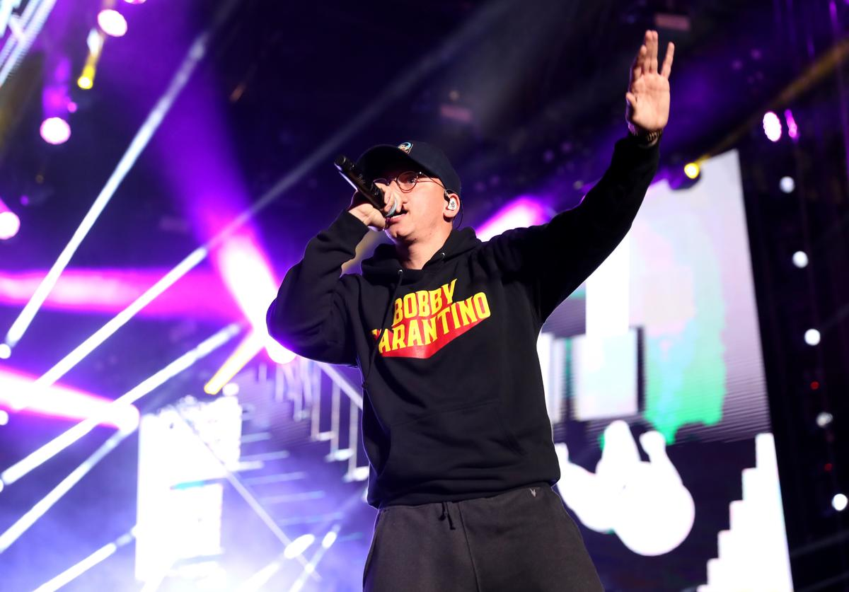 Logic performs onstage during the 2018 iHeartRadio Wango Tango by AT&T at Banc of California Stadium on June 2, 2018 in Los Angeles, California