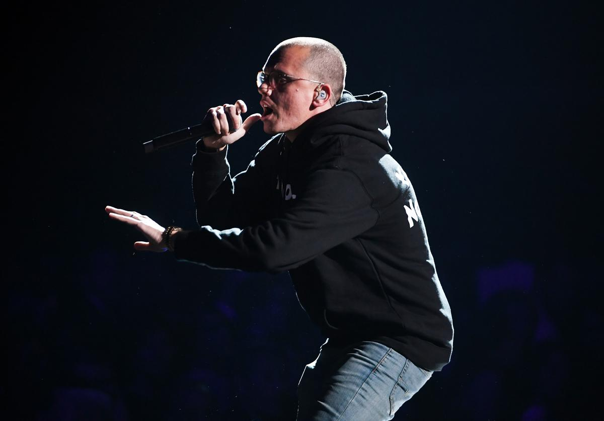 Recording artist Logic performs onstage during the 60th Annual GRAMMY Awards at Madison Square Garden on January 28, 2018 in New York City.