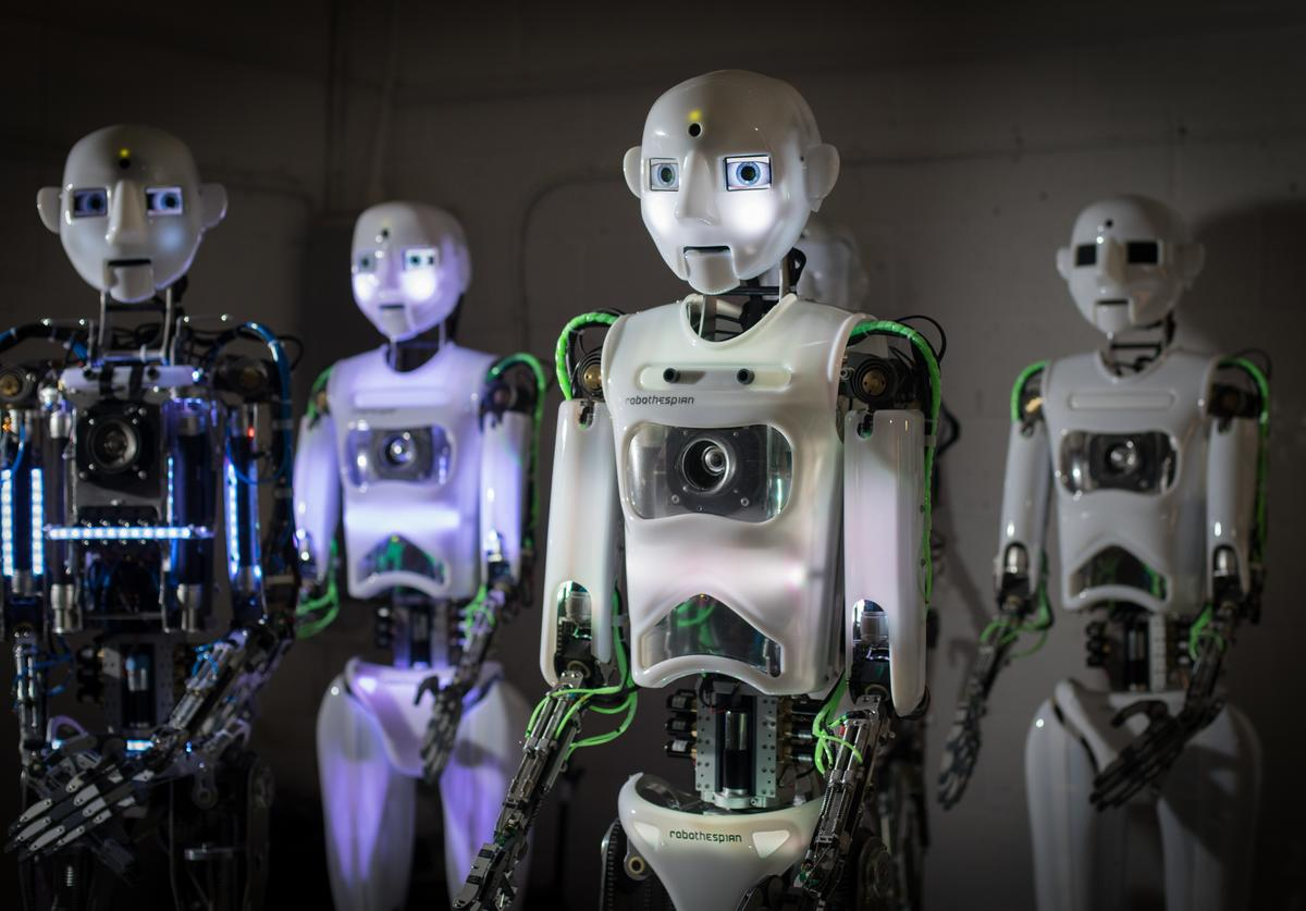 ngineered Arts RoboThespian robots are pictured at the company's headquarters in Penryn on May 9, 2018 in Cornwall, England. Founded in 2004, the Cornish company operating from an industrial unit near Falmouth, is a world leader in life sized commercial available humanoid robots for entertainment, information, education and research. The company has successfully sold its the fully interactive and multilingual RoboThespian robot and their smaller SociBot robot around the world to science centres, theme parks and visitor attractions, and also to academic and commercial research groups where they are used as research and development platforms. However, more recently the company has been building a range of lifelike bio-mechanical Mesmer robots. Built on the sensors and the extensive software framework already developed for RoboThespian, the Mesmer robots can offer some of the smartest animatronics on the market, giving extensive interaction but can also move very smoothly, quietly and naturally too. Developed using Engineered Arts own animation software 'Virtual Robot', Mesmer characters can be fictional, or faithful recreations of real-world people with accuracy possible to the last pore or finest of hairs.
