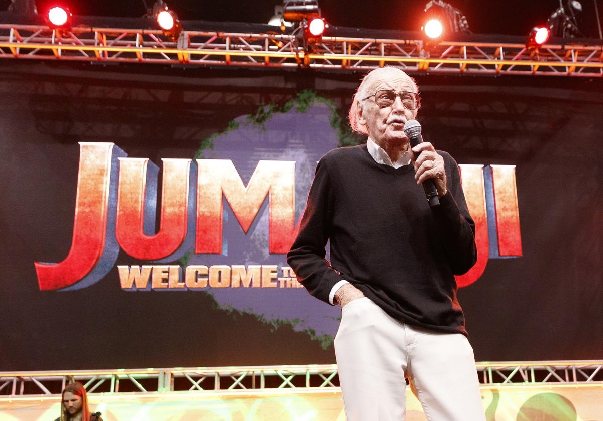 Stan Lee speaks onstage at ENTERTAINMENT WEEKLY Presents Dwayne 'The Rock' Johnson at Stan Lee's Los Angeles Comic-Con at Los Angeles Convention Center on October 28, 2017 in Los Angeles, California.