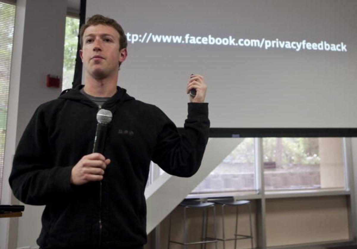 Mark Zuckerberg, chief executive officer of Facebook, holds a press conference at their headquarters, May 26, 2010 in Palo Alto, California. Zuckerberg outlined Facebook's new privacy control methods.