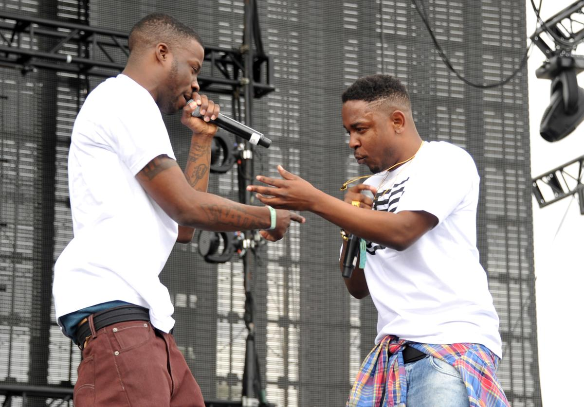 Rappers Jay Rock (L) and Kendrick Lamar perform onstage during day 1 of the 2012 Coachella Valley Music & Arts Festival at the Empire Polo Field on April 13, 2012 in Indio, California.