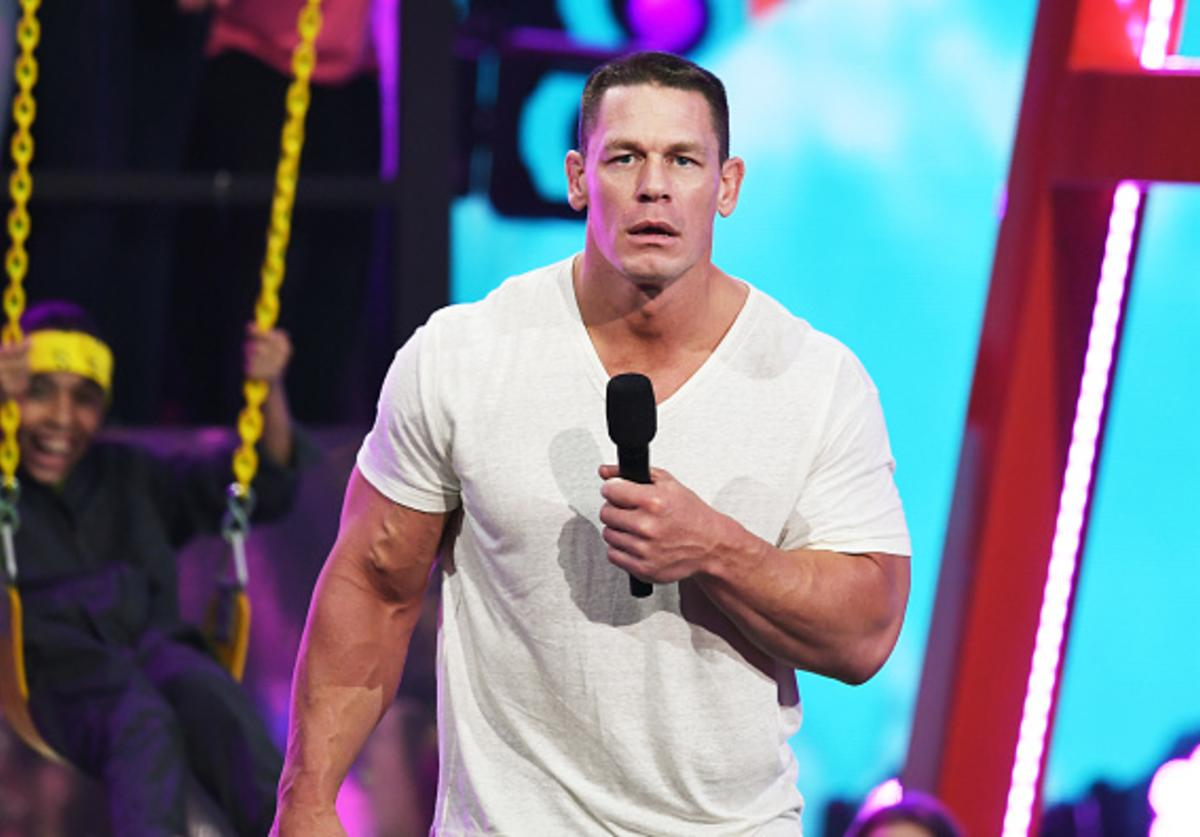 John Cena speaks onstage at Nickelodeon's 2018 Kids' Choice Awards at The Forum on March 24, 2018 in Inglewood, California.