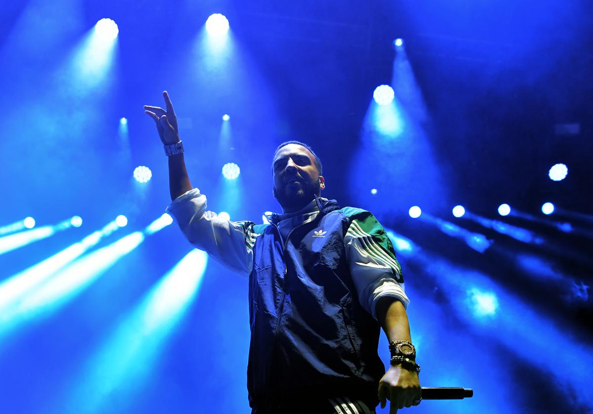 French Montana performs onstage during adidas Creates 747 Warehouse St., an event in basketball culture, on February 16, 2018 in Los Angeles, California.