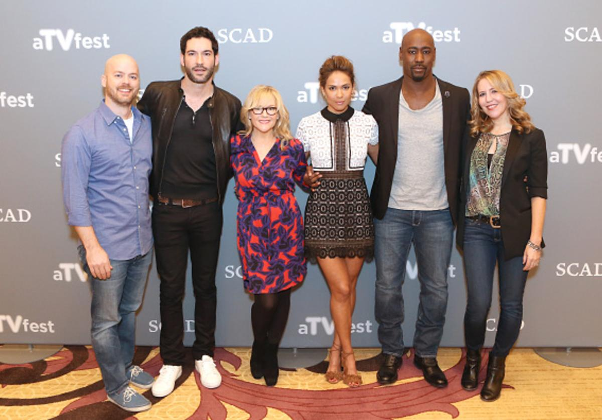 Executive Producer Joe Henderson, Actor Tom Ellis, Actress Rachael Harris, Actress Lesley-Ann Brandt, Actor D.B. Woodside, and Executive Producer Ildy Modrovich attend 'Lucifer' event during aTVfest 2016 presented by SCAD on February 7, 2016 in Atlanta, Georgia.