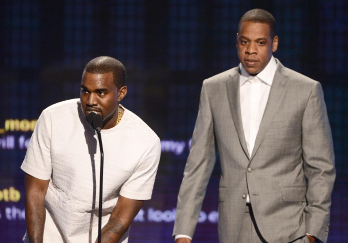 Recording artists Kanye West (L) and Jay-Z accept the award for Video of the Year onstage during the 2012 BET Awards at The Shrine Auditorium on July 1, 2012 in Los Angeles, California