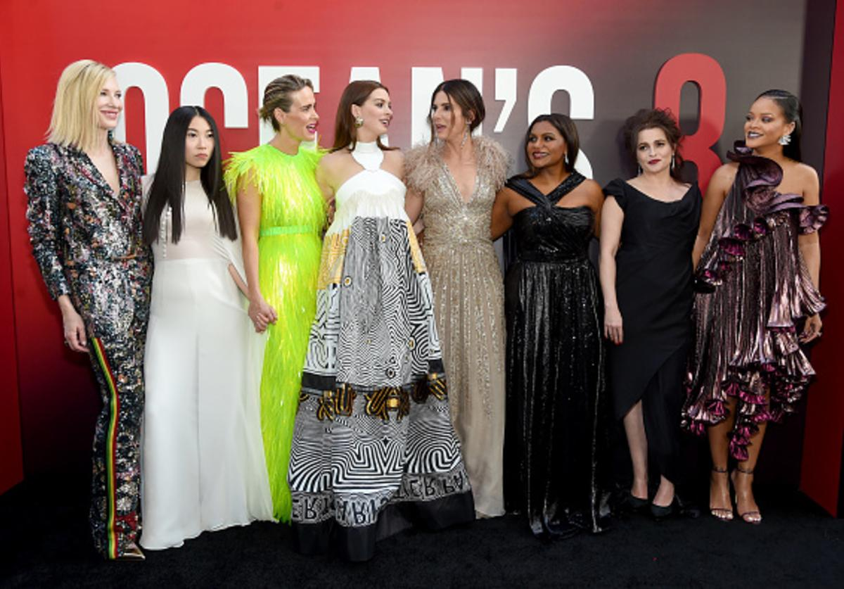 Cate Blanchett, Awkwafina, Sarah Paulson, Anne Hathaway, Sandra Bullock, Mindy Kaling, Helena Bonham Carter and Rihanna attend the 'Ocean's 8' World Premiere at Alice Tully Hall on June 5, 2018 in New York City.